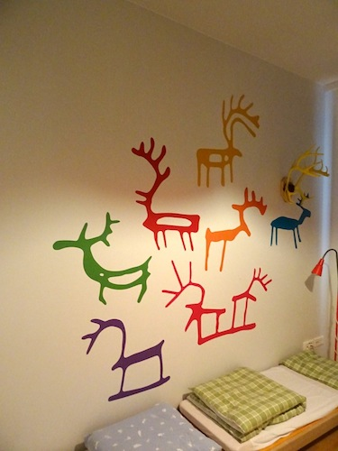 Saami designs and reindeer antlers decorate the Máttabiegga Giellabeassi language nest's nap room. (PHOTO BY JANE GEORGE)