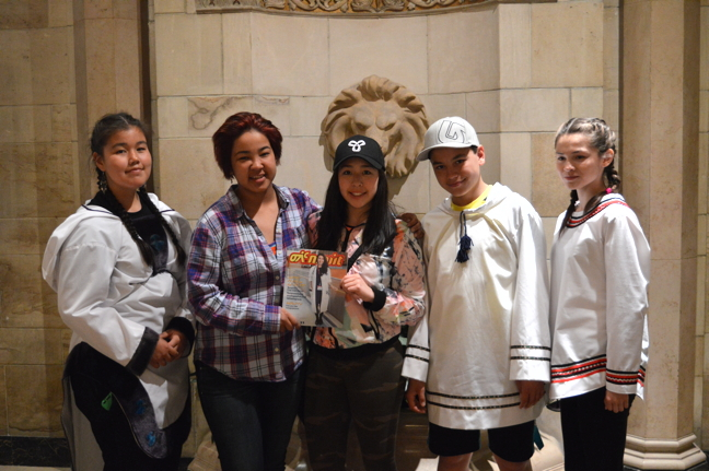 Some Inuit youth attending a financial literacy workshop in Ottawa June 20 hold up a copy of Nipiit magazine, published by the National Inuit Youth Council. From left: Hullik Kudluk, 14, from Kuujjuaq, Alassua Hanson, 15, from Iqaluit, Dakota Joss, 15, from Yellowknife, Sinasi Tasse, 14, from Kuujuaq, and Malena Gordon, 13, from Kuujjuaq. (PHOTO BY COURTNEY EDGAR)