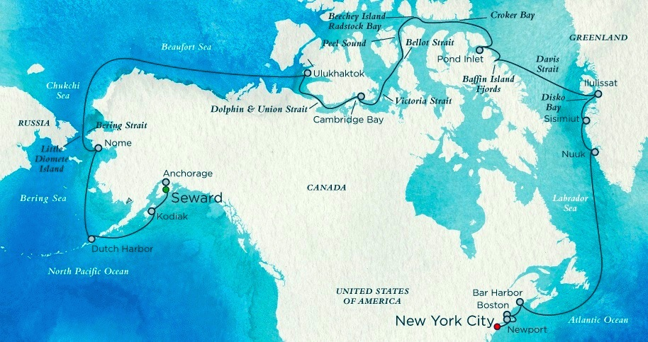 This Crystal Cruises map shows the route which the Crystal Serenity will follow on its Northwest Passage trip. (FILE IMAGE)
