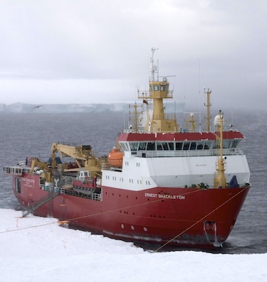 The RRS Ernest Shackleton icebreaker will lead the way for the Crystal Serenity through the Northwest Passage. (PHOTO COURTESY OF THE BRITISH ANTARCTIC SURVEY)
