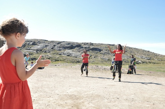 Members of the Kalabante circus troupe from West Africa, en route to Igloolik, entertain Iqalungmiut Aug. 3. (PHOTO BY THOMAS ROHNER)