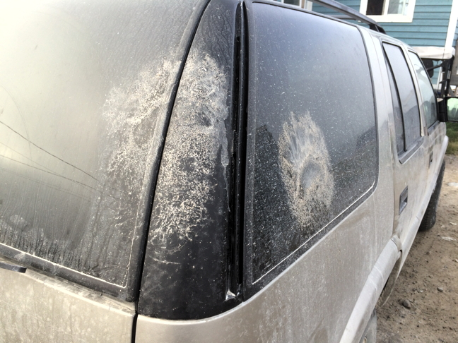 Polar bear prints seen on the side of a parked car Aug. 15 in Arviat, where residents are reported more and earlier sightings of the bears than usual. (FILE PHOTO)
