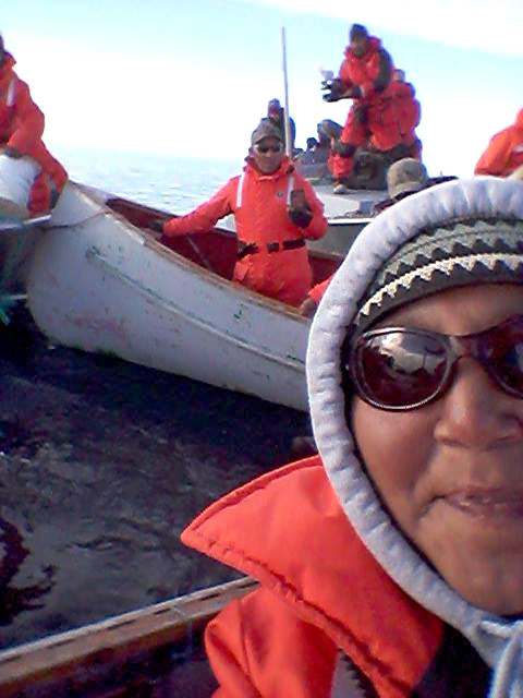 Lucy Kublu-Qattalik on Aug. 20, after Igloolik's successful bowhead whale hunt. (PHOTO COURTESY OF LUCY KUBLU-QATTALIK)