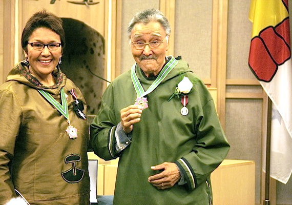 Charlie Panigoniak receives the Order of Nunavut in 2012 from then-Commissioner of Nunavut Edna Elias. (FILE PHOTO)