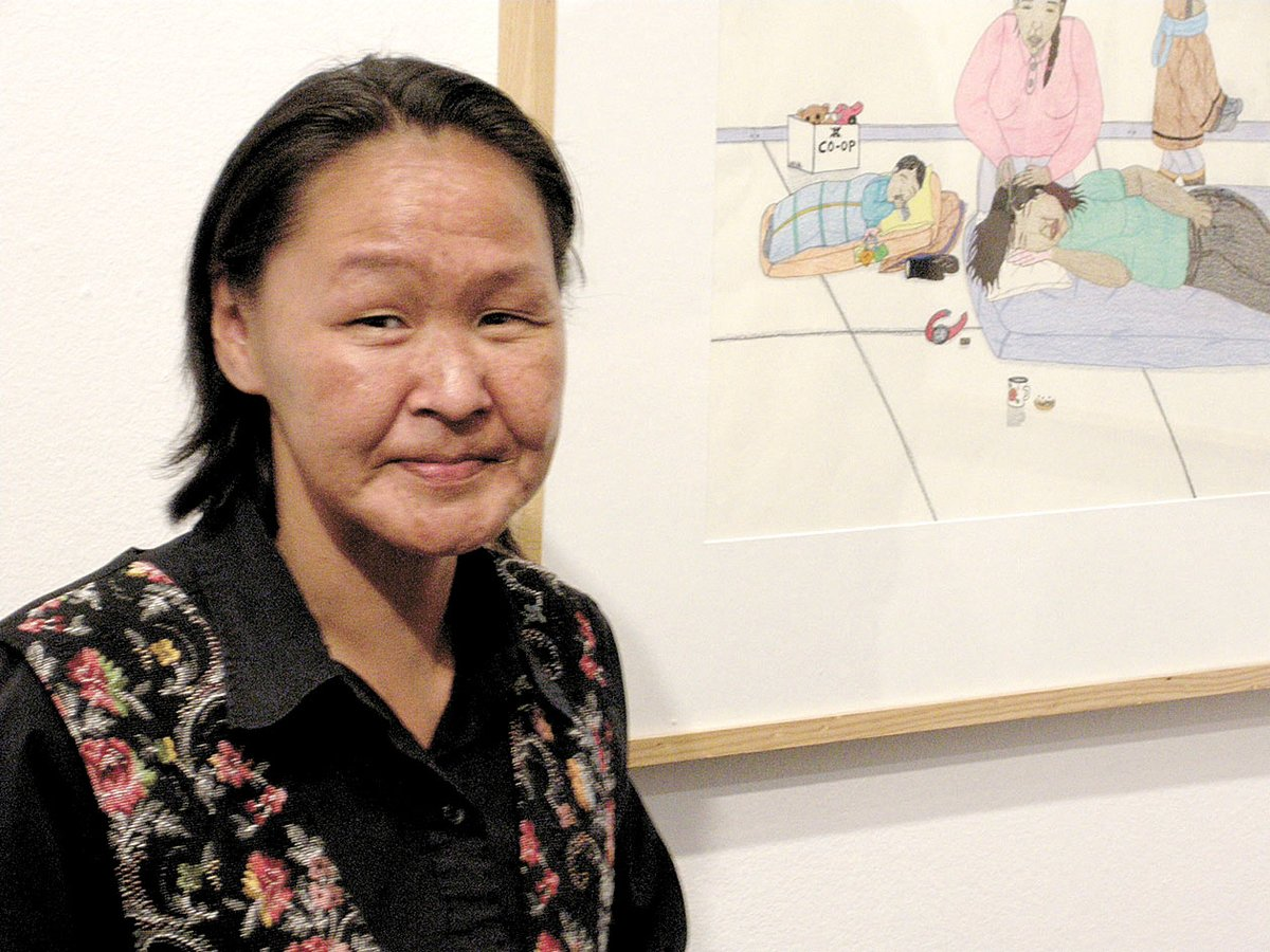 The late acclaimed artist Annie Pootoogook at a 2009 show of her work in New York City. Nunavut Inuit are upset with the police investigation and reaction to the artist's sudden death. (FILE PHOTO)
