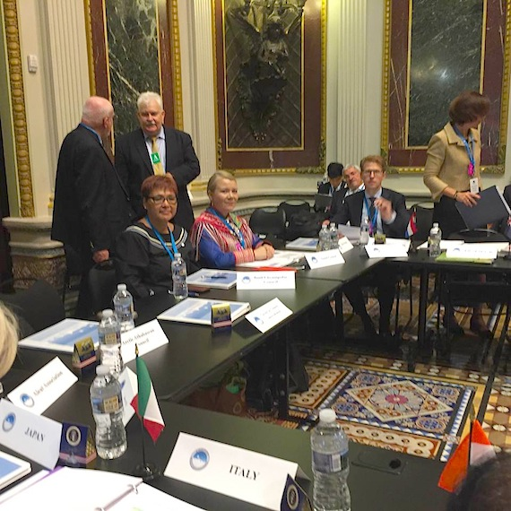 Okalik Eegeesiak of the Inuit Circumpolar Council and Ellen Inga Turi of the Saami Council prepare for the White House Arctic Science Ministerial held Sept. 28 in Washington, D.C. (PHOTO COURTESY OF THE SAAMI COUNCIL)
