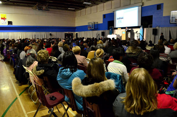 Hundreds of people from Nunavut and around Canada listen to Natan Obed, the president of Inuit Tapiriit Kanatami, speak Oct. 27 at the Canadian Association for Suicide Prevention's conference in Iqaluit this week. (PHOTO BY JIM BELL)