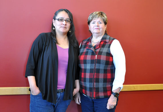 Annie Saunders, a Kuujjuaq-based court worker and Marcelle Thibodeau of the Native Para-judicial Services of Quebec are pictured at the Kativik Regional Government offices Nov. 30 following a presentation to its regional council. The organization offers legal assistance to Indigenous Quebecers in the criminal justice and penal systems, as accused persons, victims or witnesses. Earlier this year, the Quebec government mandated the para-judicial group to launch a service to help Indigenous Quebecers who want to file a complaint against police officers. Nunavimmiut can reach the organization at 1-888-844-2094. (PHOTO BY SARAH ROGERS)
