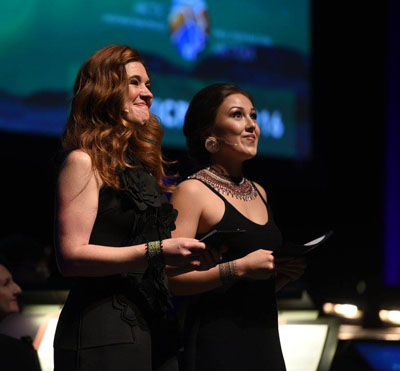 Former Olympian and mental health advocate Clara Hughes, left, and Kangiqsualujjuaq youth leader Andrea Brazer host the 2016 Arctic Inspiration Prize gala in Winnipeg Dec. 8. (PHOTO COURTESY OF AIP)