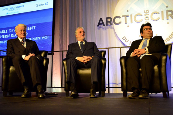 Arctic Circle chair Ólafur Ragnar Grímsson, who served as president of Iceland between 1996 and 2016, Quebec Premier Philippe Couillard, and Vittus Qujaukitsoq, the Greenland minister of commerce, employment, trade, energy and foreign affairs, at the opening of the Arctic Circle Quebec Forum on the morning of Dec. 12 in Quebec City. (PHOTO BY JIM BELL)