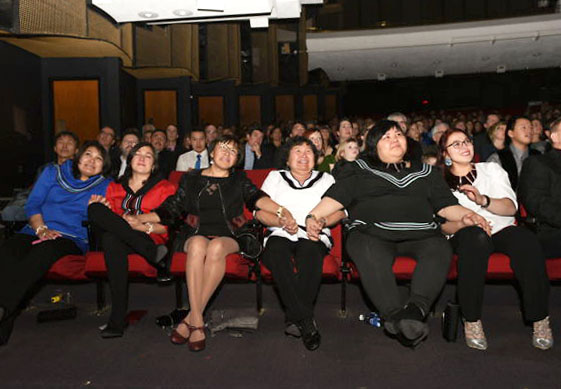 Some of the community leaders who run Qarmaapik house clutch hands nervously during the Dec. 8 awards gala in Winnipeg before the group's name was announced as an Arctic Inspiration Prize laureate for 2016. (PHOTO COURTESY OF AIP)