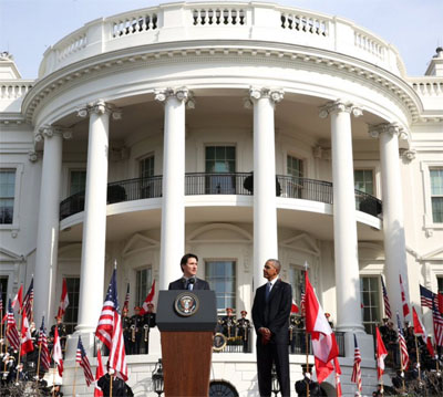 Trudeau and Obama speak at the launch of the Canada-U.S. shared Arctic leadership model at the White House last March. (FILE PHOTO)