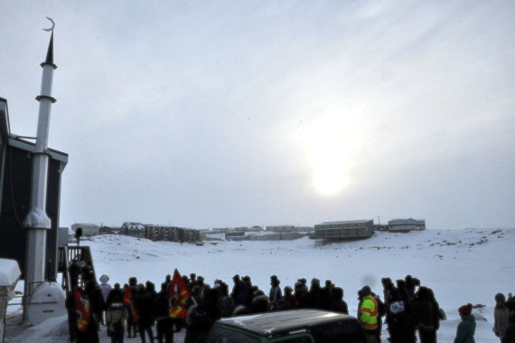 Iqalungmiut gather at the Iqaluit mosque Jan. 30 to show their solidarity with Muslims in the wake of yesterday's deadly shootings at a mosque in Ste-Foy, Quebec.