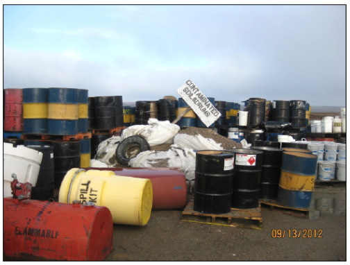 If all goes according to Indigenous and Northern Affairs Canada plans, contaminated waste such as this will be removed this summer from the abandoned Jericho diamond mine in the Kitikmeot. (INAC PHOTO)