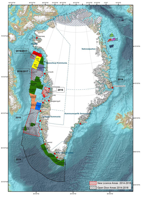 This map, published by Greenland's mineral authority in 2014, shows the blocks of offshore territory that have been or will be made available for oil and gas exploration. (GREENLAND MINERALS AUTHORITY)