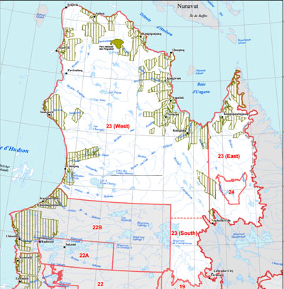 A map of Quebec's sports hunting zones. Nunavik is made up largely of zone 23 and a portion of zone 22, where the province will maintain the sports hunt of the vulnerable Leaf River caribou until February 2018, Quebec announced in December. (PHOTO COURTESY OF QUEBEC GOVERNEMENT)