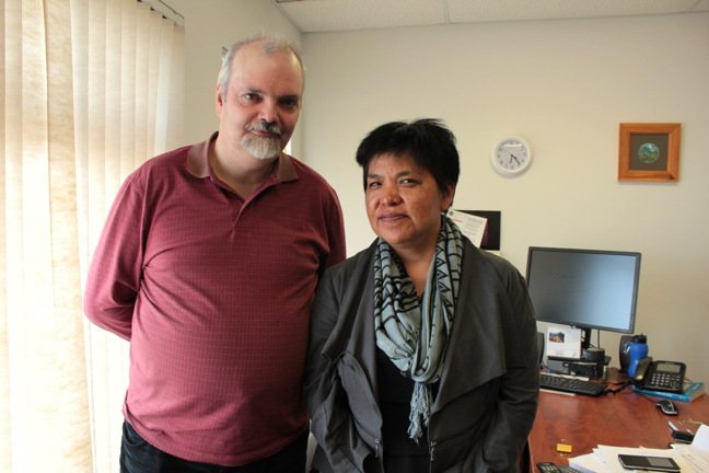 Doug Workman, then vice-chair of the Coalition of Nunavut DEAs, and the organization's executive director, Nikki Eegeesiak, are pictured in Iqaluit last summer ahead of Education Act consultations. (FILE PHOTO)