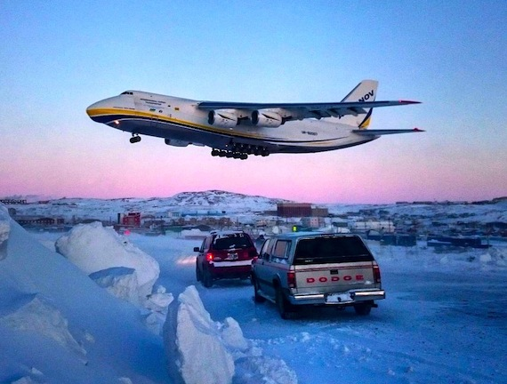 Antonov to the rescue! The huge four-engine aircraft lands at 3:30 p.m. Feb. 4 in Iqaluit, with a new engine for the Swiss International Airlines Boeing 777-300, as many plane-spotters gather, in their vehicles, at the end of the runway to catch the landing. (PHOTO BY MIALI BUSCEMI)