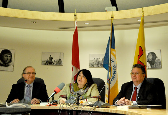 Bernard Valcourt, then the minister of Aboriginal Affairs and Northern Development Canada; Cathy Towtongie, then president of Nunavut Tunngavik; and Peter Taptuna, premier of Nunavut, at the signing ceremony for the big out-of-court settlement agreement that resolved a lawsuit that NTI filed against Ottawa in December 2006. That deal produced the $175-million training fund that is now controlled by the Makigiaqta Inuit Training Corp. This week, the GN and NTI announced $3 million in spending from that fund. (FILE PHOTO)