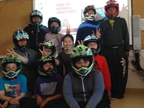 Students at Asimauttaq school each received their own helmet this past January with support from the KRG, Brighter Futures and Motovan. (PHOTO COURTESY OF I. CHU)