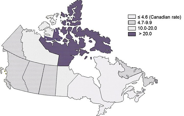 Where TB is: In 2015 Nunavut, deep purple on this map, continued to have the highest incidence rate of TB at 119.2 per 100,000 population, a rate which was 26 times higher than the overall Canadian rate. However, this incidence rate was nearly half of what it was in 2014 at 232.8 per 100,000 population. (MAP COURTESY OF THE PUBLIC HEALTH AGENCY OF CANADA)