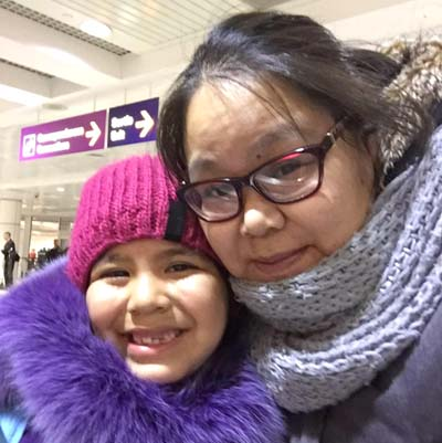 Manu Qaunnaaluk and her daughter Deseray. 6, had a frightening encounter with a polar bear while walking home in Ivujivik earlier this month. (PHOTO COURTESY OF M. QAUNNAALUK)