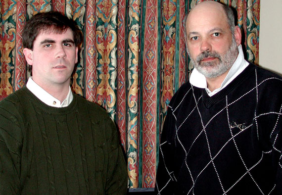Lawyer Geoffrey Budden of Mt. Pearl, Nfld. (left) and lawyer Stephen Rubino of Margate City, New Jersey in 2001, when Budden, who hired Rubino as a consultant, began a lawsuit against the governments of Nunavut and the Northwest Territories that won $21.5 million on behalf of 82 people in compensation for sexual abuse they suffered as boys at the hands of Ed Horne, a teacher who worked for the GNWT between 1971 and 1985. In 2011, Budden, in a second lawsuit, won $15 million on behalf of 66 people who claimed that Horne had abused them. (FILE PHOTO)