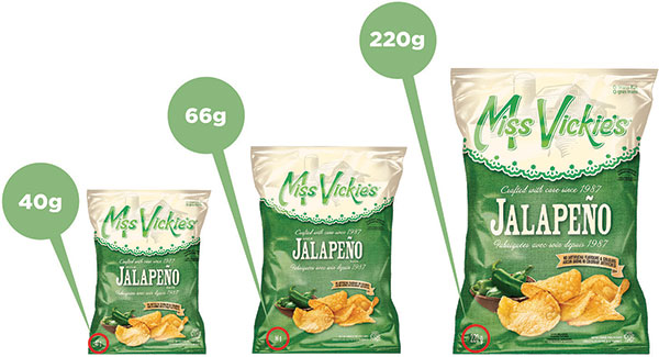 The national product recall on Miss Vickie's jalapeño chips applies to all sizes of bags. (HANDOUT PHOTO)