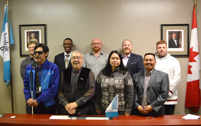 Iqaluit is back to a full complement of eight councillors and one mayor April 25 following an April 10 byelection which brought in two new councillors. Back row from left: Terry Dobbin, Kuthula Matshazi, Deputy Mayor Romeyn Stevenson, Kyle Sheppard and Jason Rochon. Front row, from left: Noah Papatsie, Simon Nattaq, Mayor Madeline Redfern and Joanasie Akumalik.