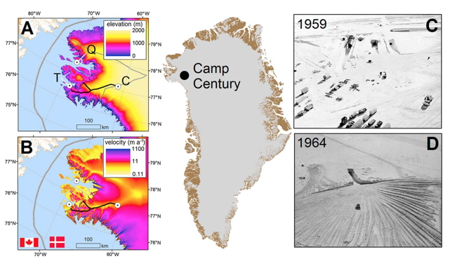 Taken from the research letter, this graphic shows the location of Camp Century, how the entrance looked during construction in 1959 and again in 1964. Graphic A shows Thule Air Base (T), Qaanaaq (Q), and Camp Century (C). Depth of the ice sheet goes from deepest, in yellow, to zero in blue. Graphic B shows the trails the pollutants could make to the sea from Camp Century, based on simulation models that take into account various melt and weather patterns. (PHOTO COURTESY GEOPHYSICAL RESEARCH LETTERS)