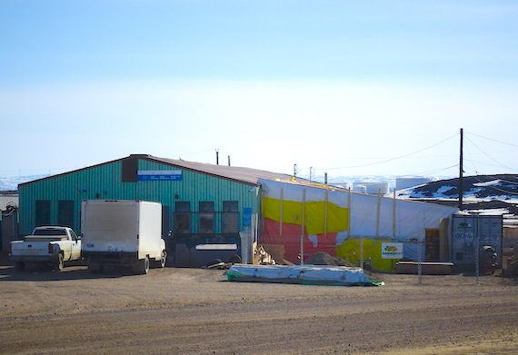 Here you can see the existing liquor warehouse in Iqaluit, which will have a beer-wine store as an addition, which is now under construction. The store, Nunavut's first, is set to open in July. (PHOTO BY JANE GEORGE)