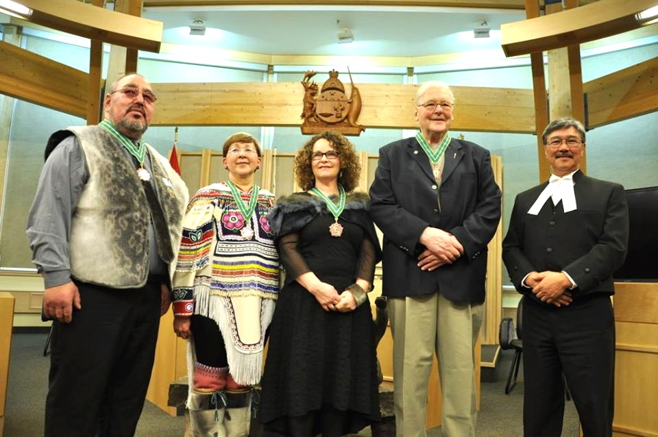 An Order of Canada recognition for Iqaluit's Ellen Hamilton: Governor General David Johnston announced June 30 the appointment of Hamilton (seen here, middle, receiving the 2016 Order of Nunavut) to the Order of Canada,