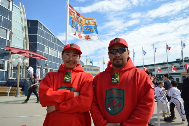 Canadian Ranger Jamie Kautuq from Clyde River, right, was one of a half-guard of Rangers inspected by Prince Charles during his Iqaluit visit June 29.