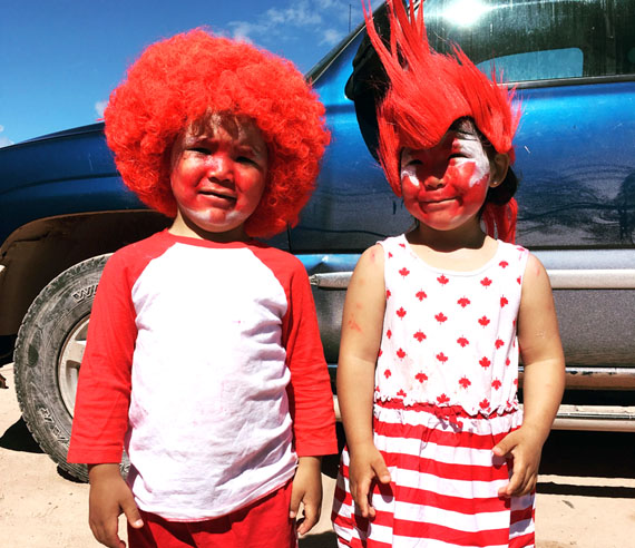 Baker Lake brother and sister Liam and Layla Putumiraqtuq get all decked out for Canada Day celebrations in the Kivalliq community. July 6th also marked the twins 4th birthdays. Happy Birthday from Nunatsiaq News! (PHOTO BY ANDREA TUTANUAQ)