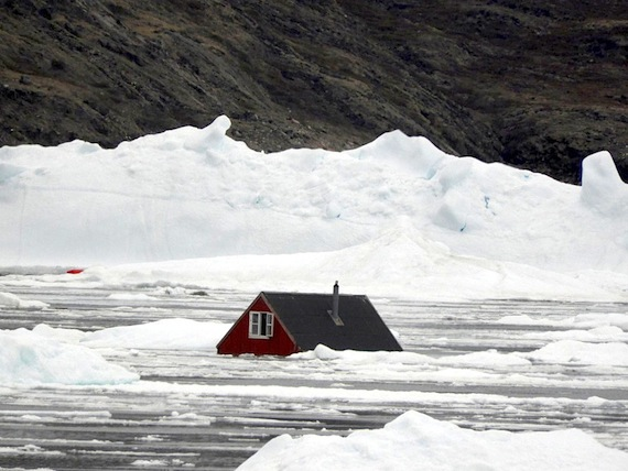 To understand the devastation caused by the June 18 tsunami in Greenland, you can consider this photo of a house from Nuugaatsiaq, where 11 houses were swept into the sea, from by the Arctic Joint Command which visited the village this week.