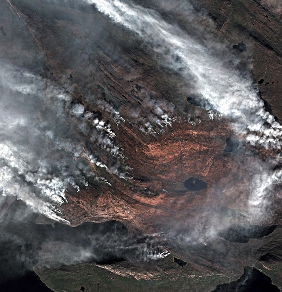 This image posted on Twitter by Deimos-2 shows the Nassuttoq wildlfire in Greenland on Aug. 8.