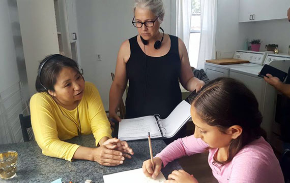 Director Lucy Tulugarjuk and Marie-Hélène Cousineau chat with actress Tia Bshara on the set of the film shoot for Tia and Piujuq in Montreal last month. (PHOTO BY S. COHN-COUSINEAU/ARNAIT)