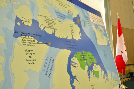 Here's a map showing the new expanded boundaries for the Tallurutiup Imanga marine protected area that the Qikiqtani Inuit Association and Parks Canada unveiled today. (PHOTO BY JIM BELL)