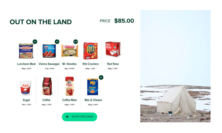 "Arctic Fresh's ""Out on the Land"" package features five cans of luncheon meat, five cans of Vienna sausages, six boxes of Kraft Dinner, 10 packages of noodles and packagess of crackers, coffee, Coffee Mate, sugar and Red Rose tea. (SCREEN GRAB)"