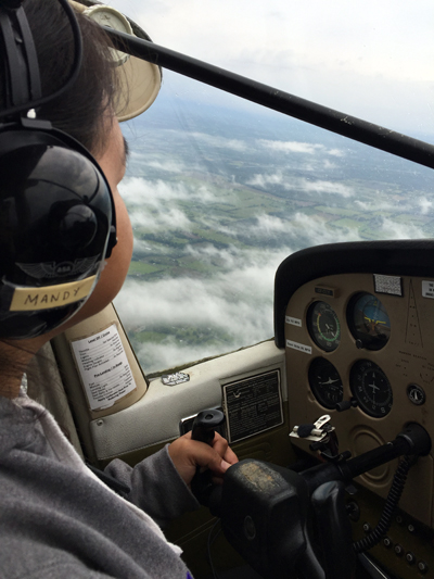 Room with a view: Gordon has now secured her private pilot's license to fly a single-engine aircraft, while she works towards her commercial license this year. (PHOTO COURTESY OF J. TABOBANDUNG)