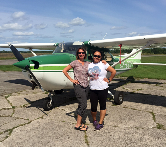 Jamila Gordon, right, is pictured here with her flight instructor Joanne Tabobandung at the Tyendinaga airport in Deseronto, Ont. (PHOTO COURTESY OF J. GORDON)