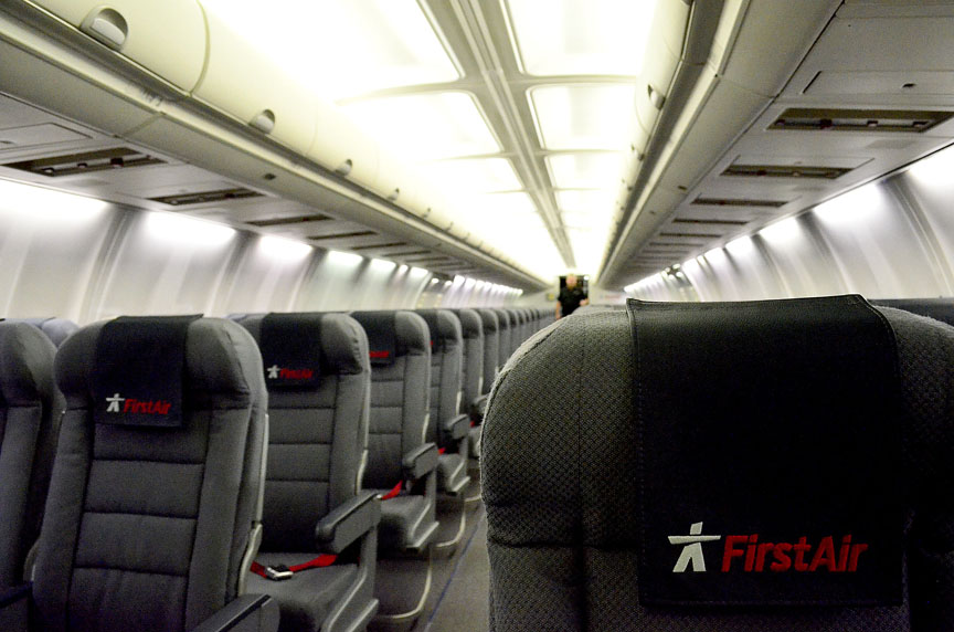 Here's a look at the redesigned interior of a First Air 737 jet. (PHOTO BY JIM BELL)