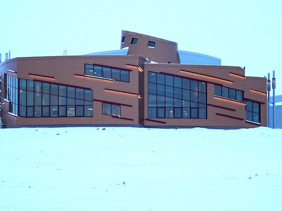The main science building of the Canadian High Arctic Research Station features lights on the outside which are meant to evoke the northern lights. (PHOTO BY JANE GEORGE)