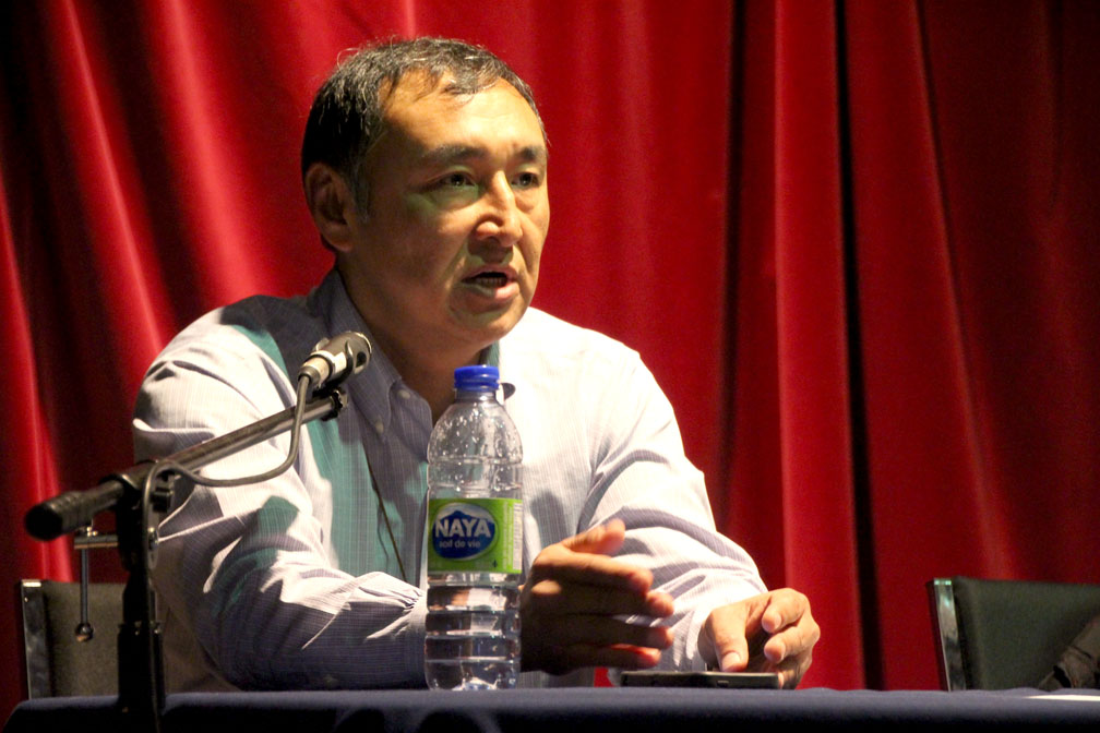 The Iqaluit-Sinaa incumbent, Paul Okalik, said he values the environment so much, he'll carry his empty water bottle back to Ottawa for recycling. (PHOTO BY BETH BROWN)