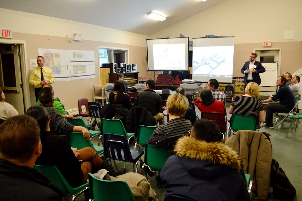 Iqaluit residents attend an information session on the Qikiqtani Correctional Healing Centre, which is expected to open in 2020. (PHOTO BY STEVE DUCHARME)