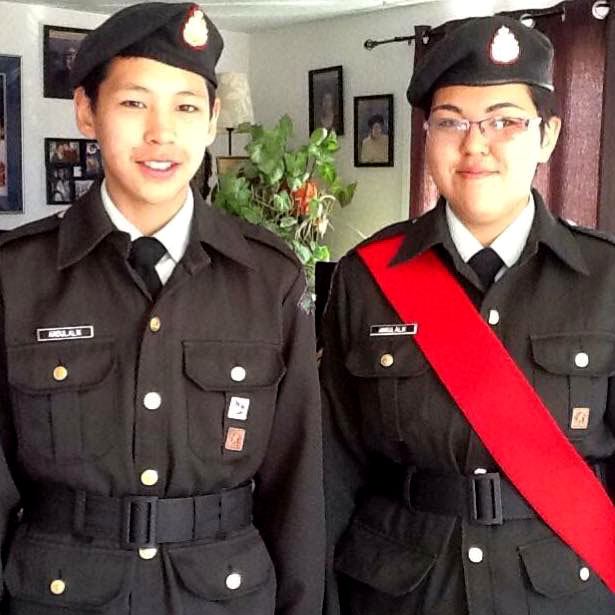 Cadet Teghan Angulalik of Cambridge Bay (on the right, beside her brother, Cyril Angulalik) will visit Belgium Nov. 9 and 10 for the 100th anniversary of the Battle of Passchendaele at the Passchendaele Canadian Memorial in Belgium. (PHOTO COURTESY OF TEGHAN ANGULALIK)