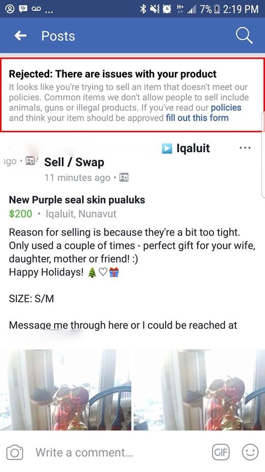 Watch before you post. Facebook is rejected postings by some Nunavut sewers who want to sell their products on Facebook swap-and-sell pages. (SCREEN SHOT)