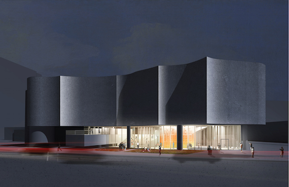 The rendering of the future Inuit Art Centre at the Winnipeg Art Gallery shows what the centre will look like at night from the street. (IMAGE COURTESY OF THE WAG/ MICHAEL MALTZAN ARCHITECTURE)