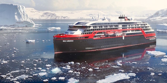 "Here's an artist's rendition of the Hurtigruten's MS Roald Amundsen,  a new hybrid electric cruise ship—which the company calls ""the world's greenest vessel."