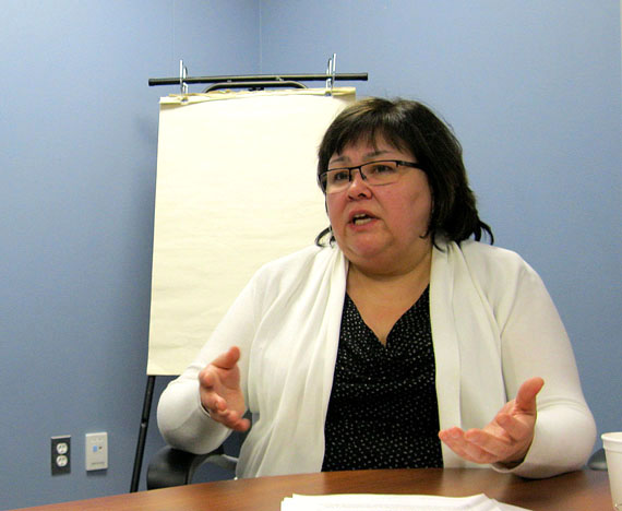 Kathy Okpik, the former deputy minister of education, talks to reporters at a briefing in Iqaluit held March 10, 2017. As of today, Okpik will serve as deputy minister of Executive and Intergovernmental Affairs, the top non-elected job at the Government of Nunavut. (FILE PHOTO)